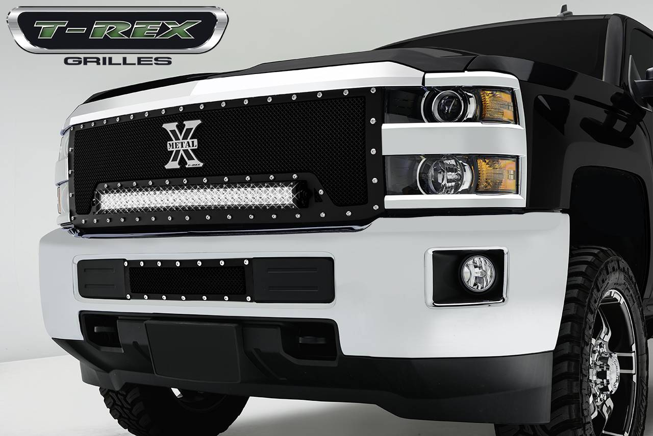 "T-REX Grilles - Chevrolet Silverado HD Torch Series LED Light Grille 1 - 30"" LED Bar, Formed Mesh Grille, Main, Insert, 1 Pc - Pt # 6311241"