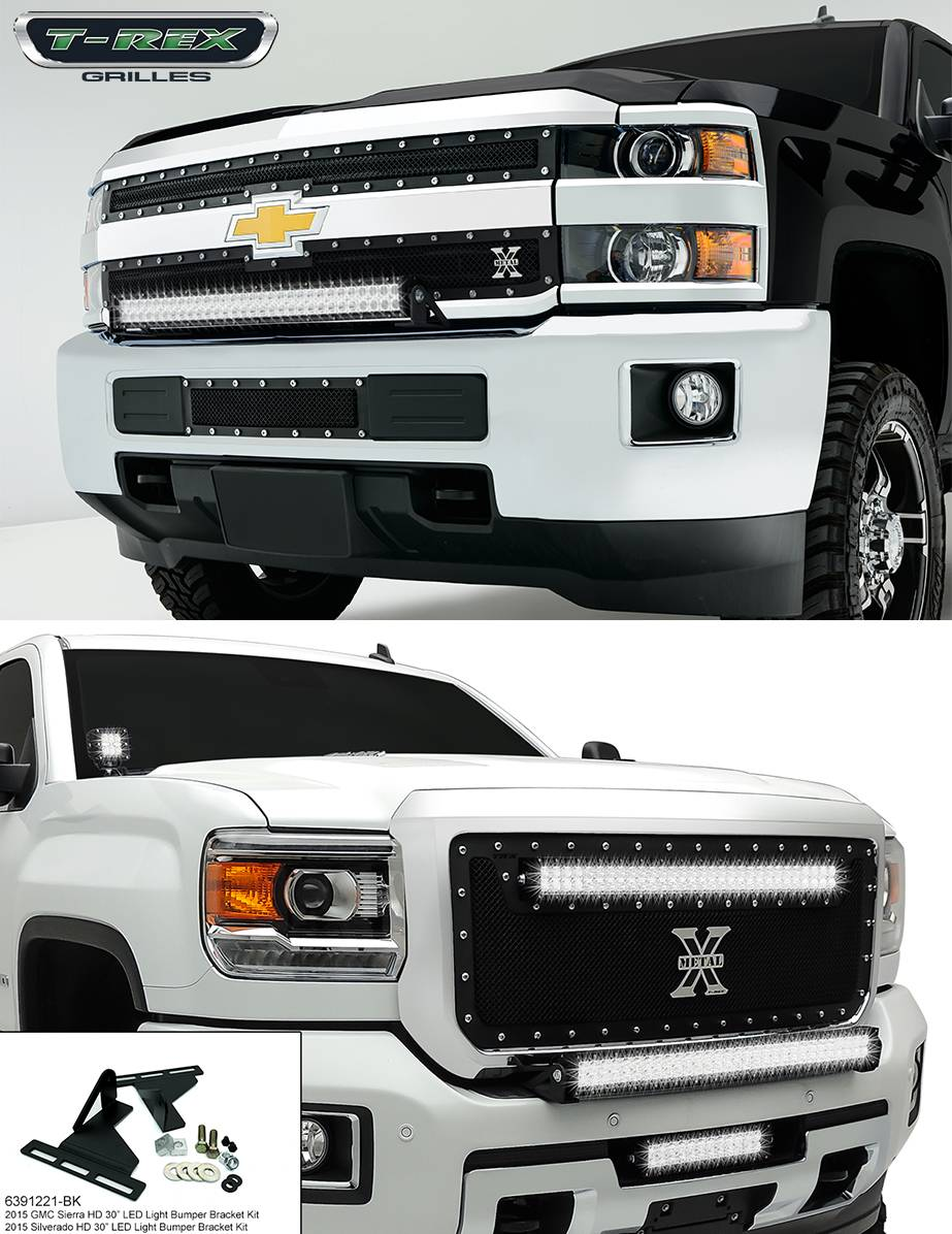 T-REX Chevrolet Silverado HD TORCH Series LED Light Bracket Kit, No LED Light Included, Center Bumper Assembly,  Black Powdercoated Mild Steel - Pt # 6391221-BK