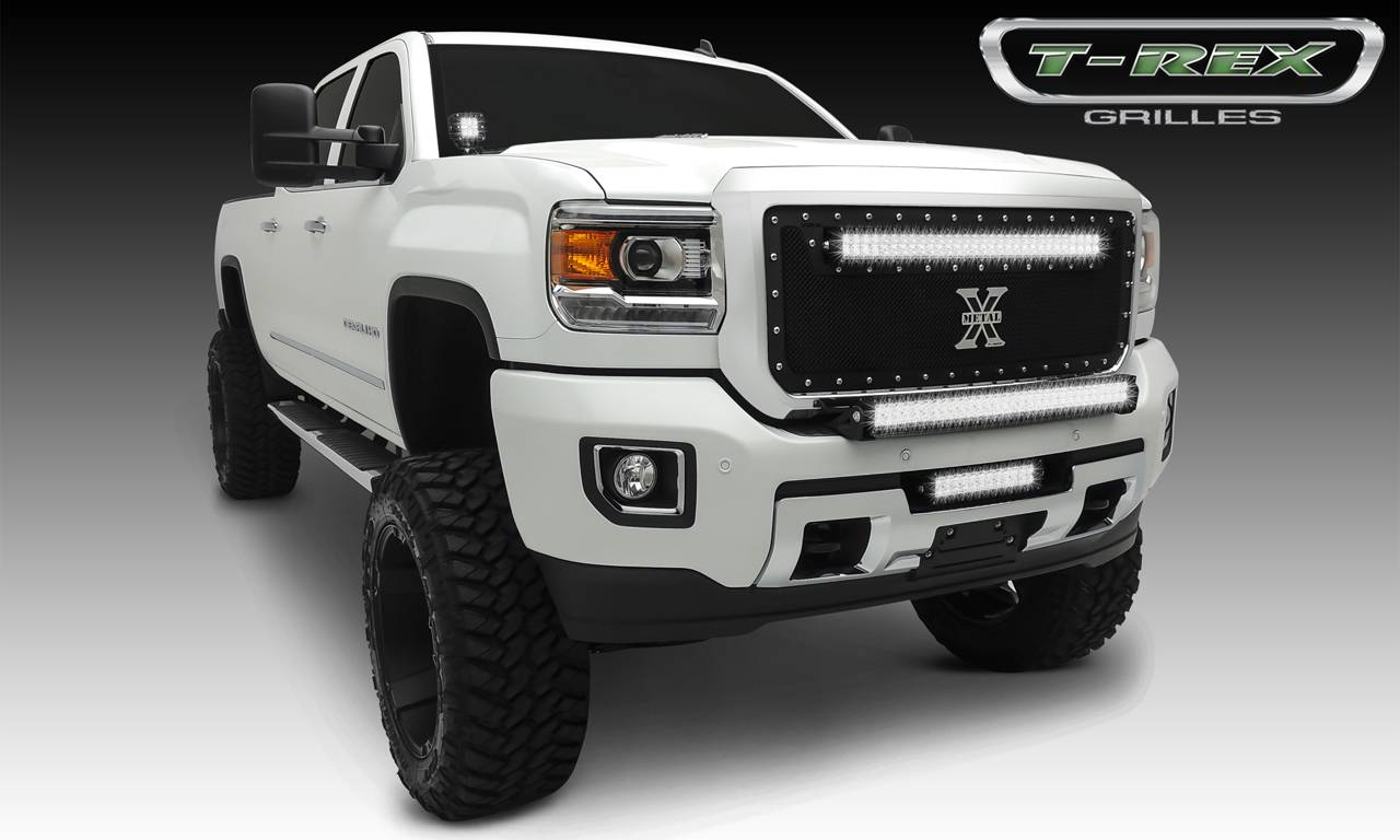 "T-REX GMC Sierra HD TORCH Series LED Light Grille  1 - 30"" LED Bar, Formed Mesh Grille, Main, Insert, 1 Pc, Black Powdercoated Mild Steel - Pt # 6312111"