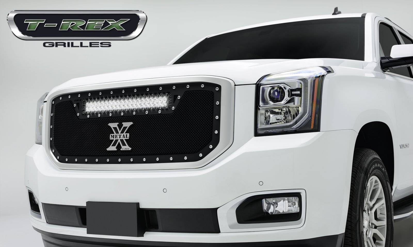 T rex gmc yukon torch series led light grille 1 20 led bar formed mesh grille main insert 1 pc black powdercoated mild steel for off road use only