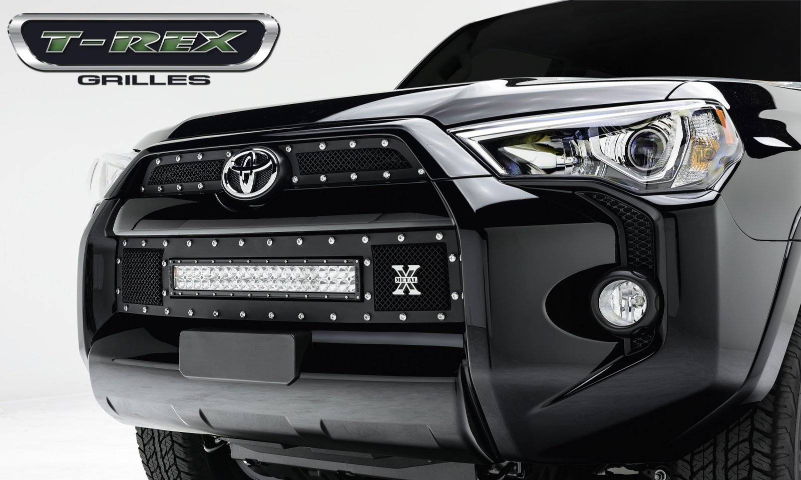 "T-REX Toyota 4 Runner TORCH Series LED Light Grille 1 - 20"" Light Bar, Formed Mesh Grille, Main & Bumper Kit, 3 Pc's, Black Powdercoated Mild Steel - Pt # 6319491"