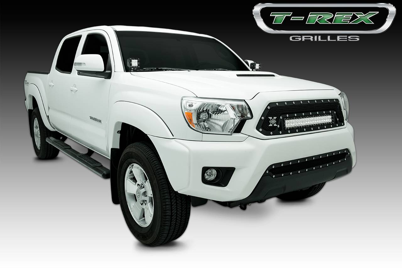 "T-REX Toyota Tacoma 2012-2015 Toyota Tacoma, TORCH Series LED Light Grille  1 - 20"" LED Bar, Formed Mesh Grille, Main, Insert, 1 Pc, Black Powdercoated Mild Steel - Pt # 6319381"