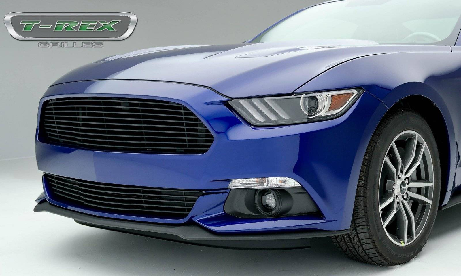 T-REX Ford Mustang GT - Laser Billet Grille - Main, Replacement with Flat Black Powder Coated Finish - Pt # 6215301