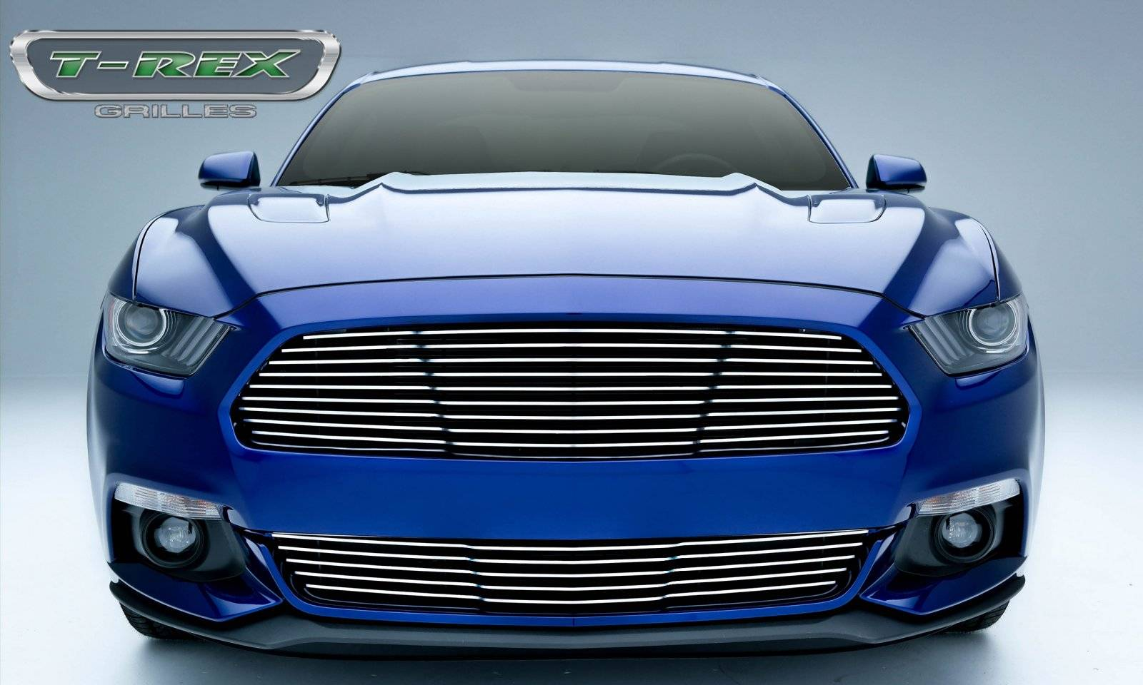 T-REX Ford Mustang GT - Laser Billet Grille - Main, Replacement  with Polished Face - Pt # 6215300