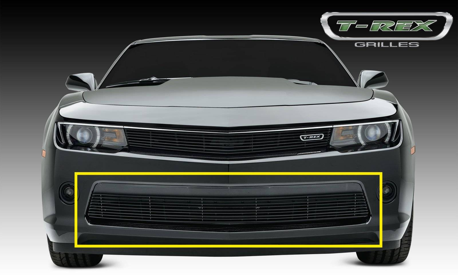 T-REX Grilles - Chevrolet Camaro RS Billet Grille, Bumper, Overlay, 1 Pc, Black Powdercoated Aluminum Bars - Pt # 25031b