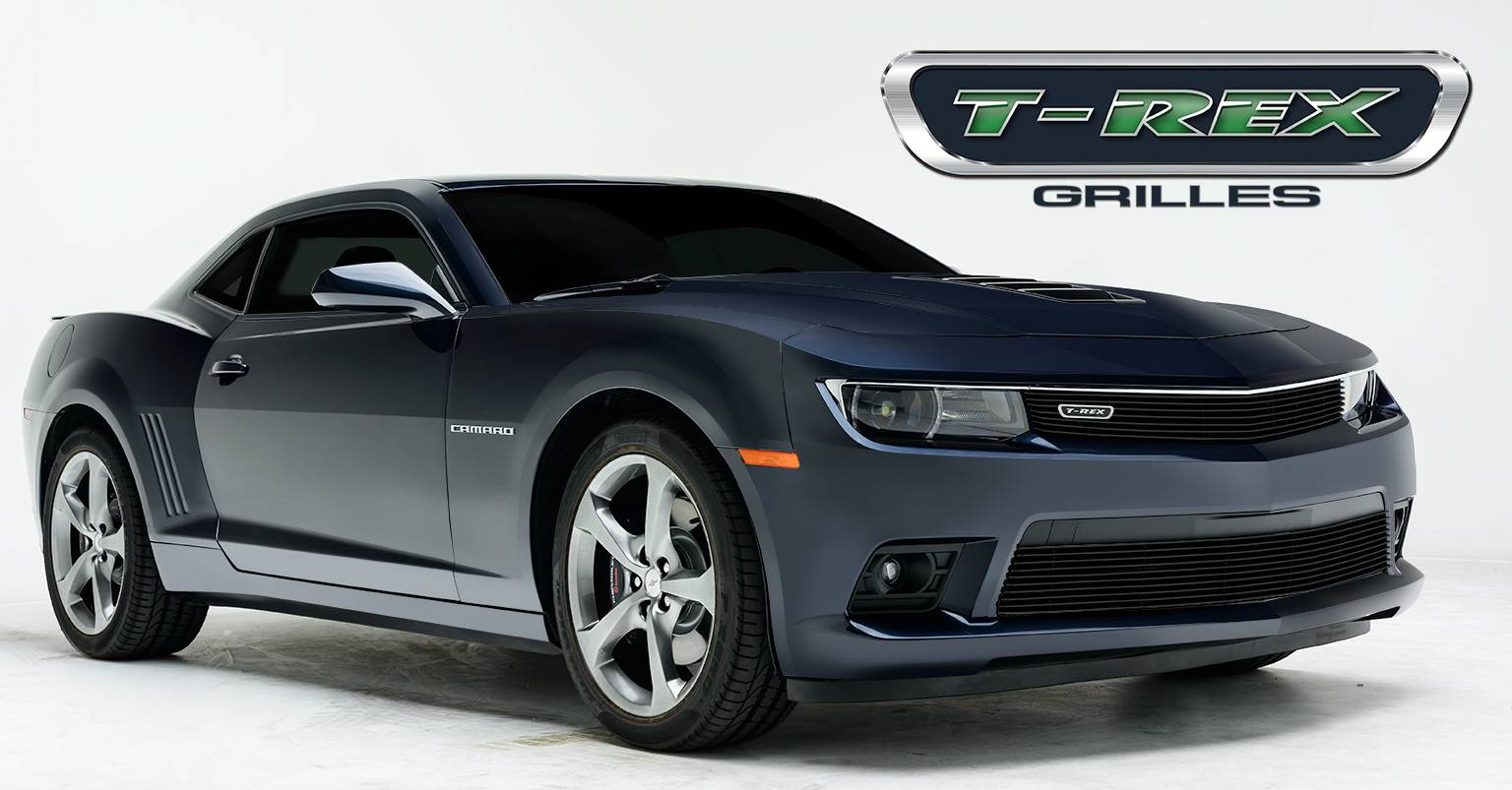 T-REX Chevrolet Camaro V8 Billet Grille, Bumper, Overlay, 1 Pc, Black Powdercoated Aluminum Bars - Pt # 25032B