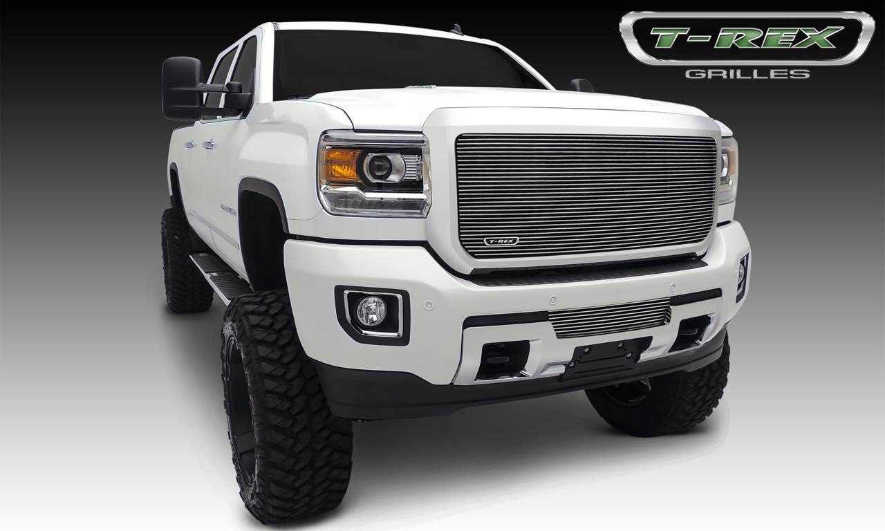 T-REX GMC Sierra HD Billet, Bumper, Insert, 1 Pc, Polished Black Powdercoated Aluminum Bars - Pt # 25211