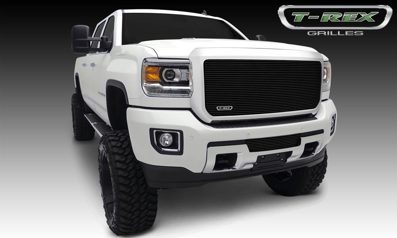 T-REX GMC Sierra HD Billet, Bumper, Insert, 1 Pc, Black Powdercoated Aluminum Bars - Pt # 25211B