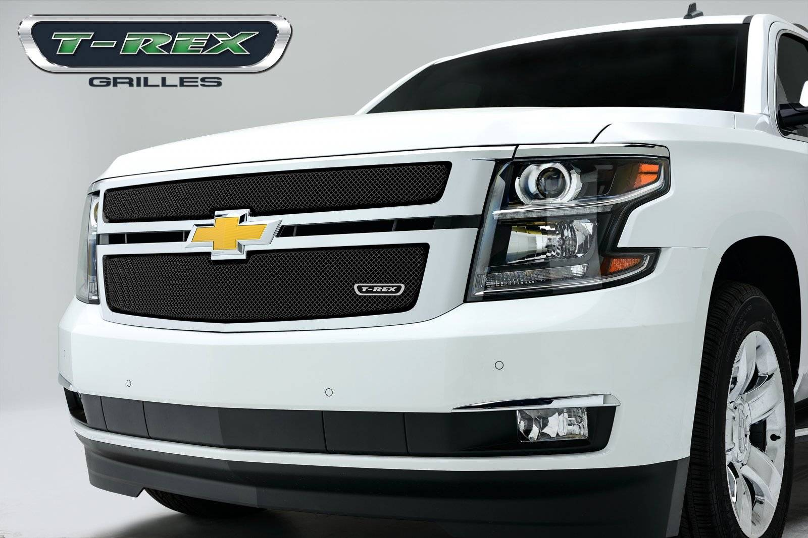 T-REX Grilles - Chevrolet Suburban, Tahoe Sport Series Formed Mesh Grille - ALL Black Powdercoat - 2 Pc - Pt # 46055
