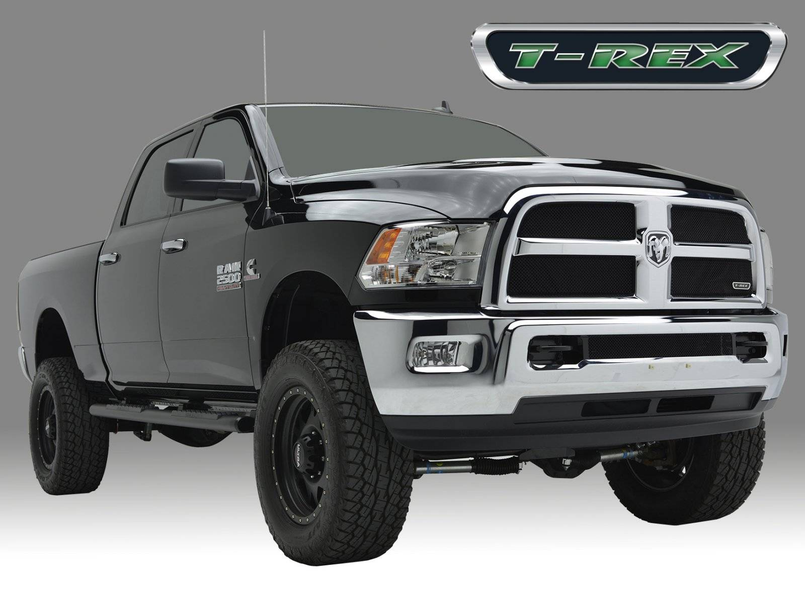T-REX Dodge Ram PU 2500 / 3500 Sport Series, Formed Mesh Grille, Main, Replacement, 2 Pc's 4 Pc's look, Black Powdercoated Mild Steel, Requires replacement of inside chrome - Pt # 46452