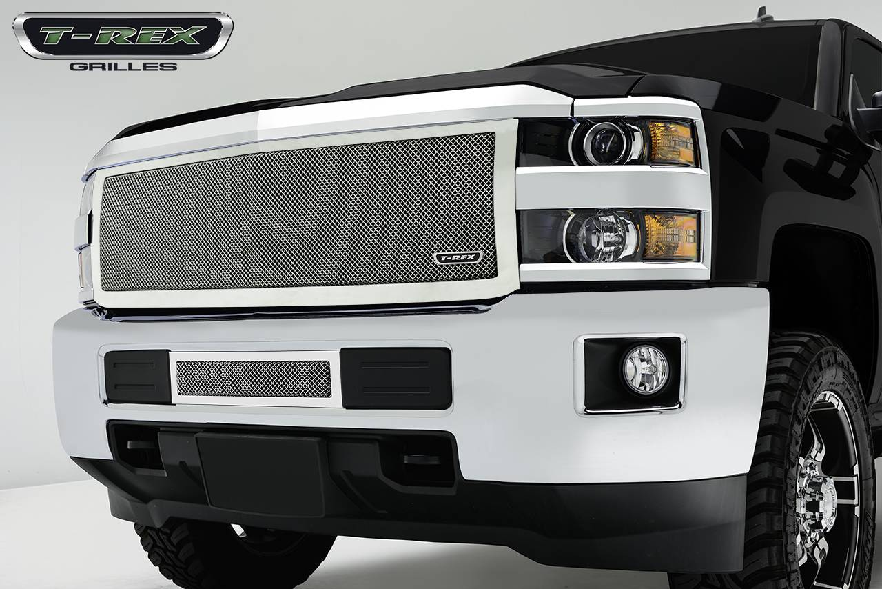 T-REX Grilles - 2015-2019 Silverado HD Upper Class Grille, Polished, 1 Pc, Replacement - PN #54123