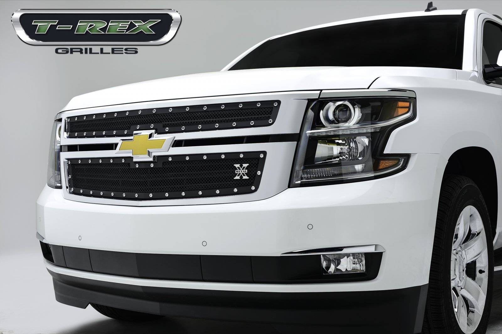 T-REX Grilles - 2015-2020 Suburban and Tahoe LT, LTZ X-Metal Grille, Black, 2 Pc, Overlay, Chrome Studs - PN #6710551