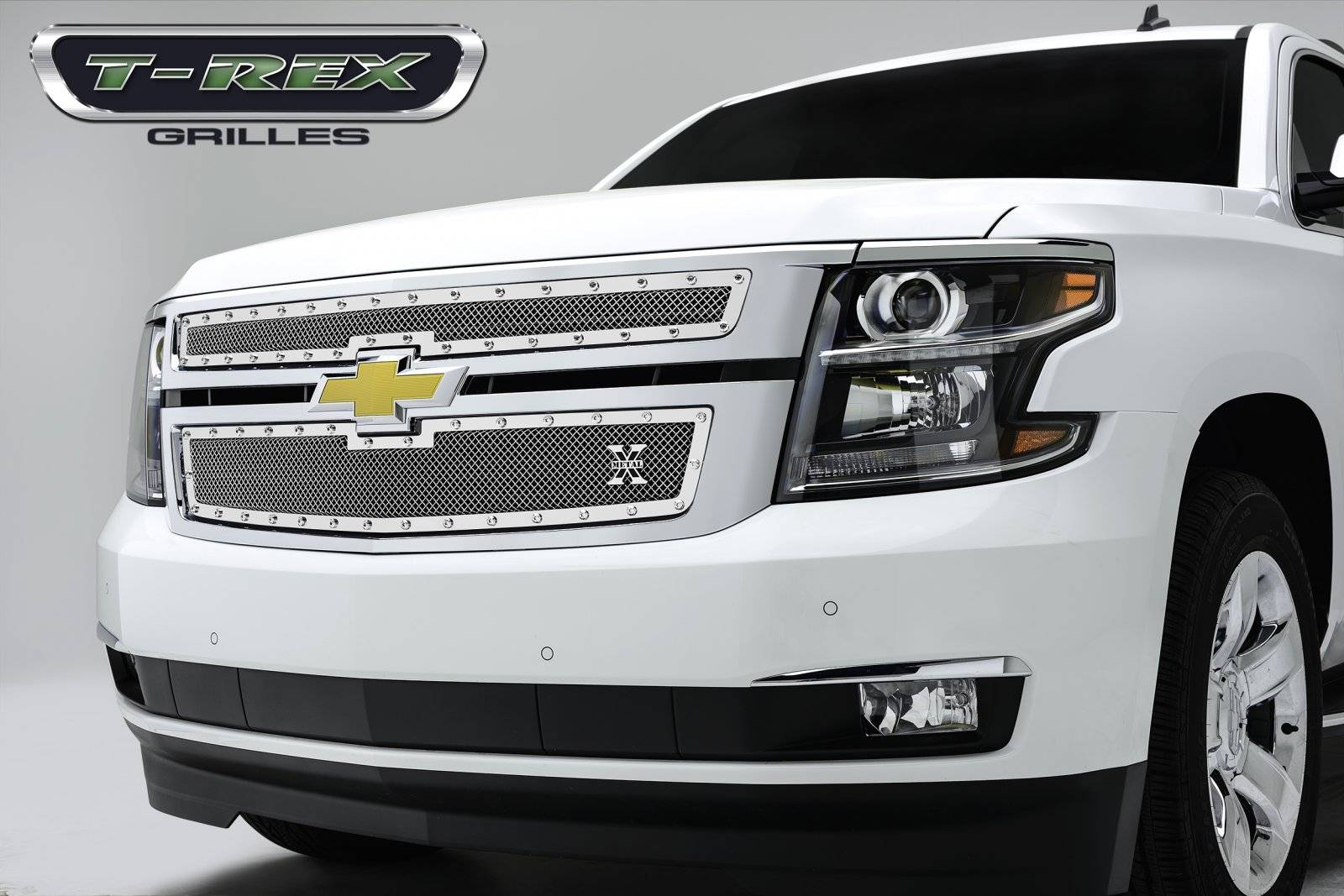 T-REX Grilles - 2015-2020 Suburban and Tahoe LT, LTZ X-Metal Grille, Polished, 2 Pc, Overlay, Chrome Studs - PN #6710550
