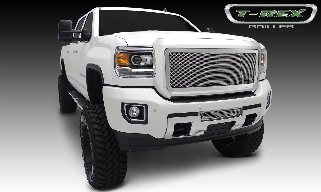 T-REX GMC Sierra HD Upper Class, Formed Mesh Grille, Main, Insert, 1 Pc, Polished Stainless Steel - Pt # 54211