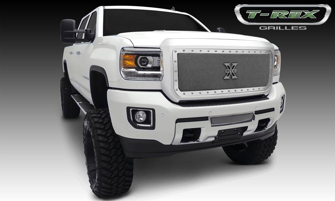 T-REX Grilles - 2015-2019 Sierra HD X-Metal Grille, Polished, 1 Pc, Insert, Chrome Studs - PN #6712110
