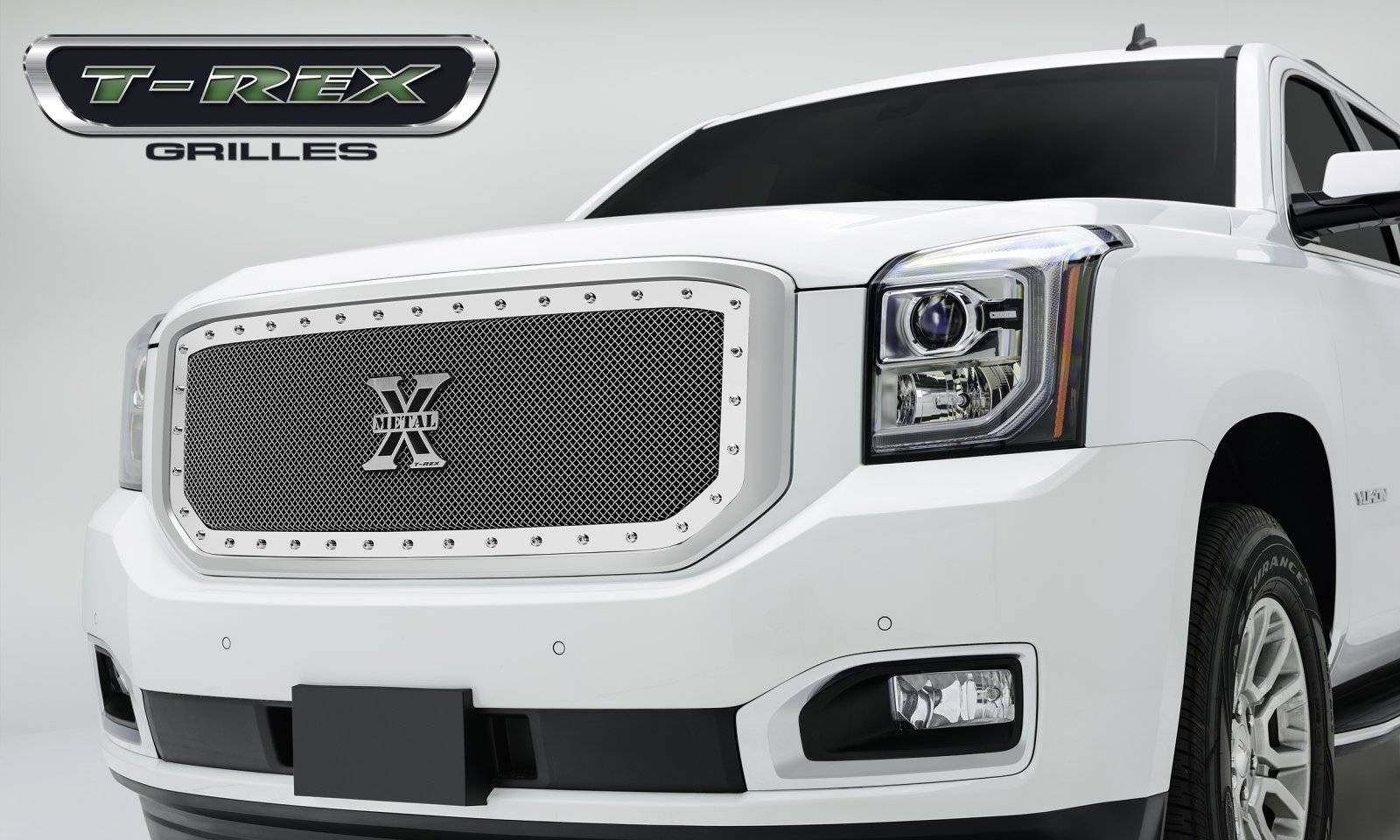 T-REX Grilles - 2015-2019 Yukon, Yukon XL X-Metal Grille, Polished, 1 Pc, Insert, Chrome Studs - PN #6711690
