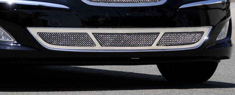 Hyundai Genesis Sedan Upper Class Polished Stainless Bumper Mesh Grille - Center Area Only - With Formed Mesh Center - fits vehicles equipped with Tech Package - Pt # 55499