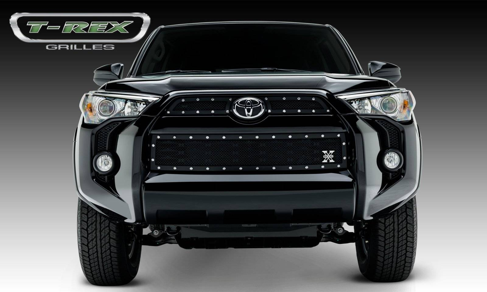 T-REX Grilles - 2014-2019 Toyota 4Runner X-Metal Grille, Black, 3 Pc, Overlay, Chrome Studs - PN #6719491