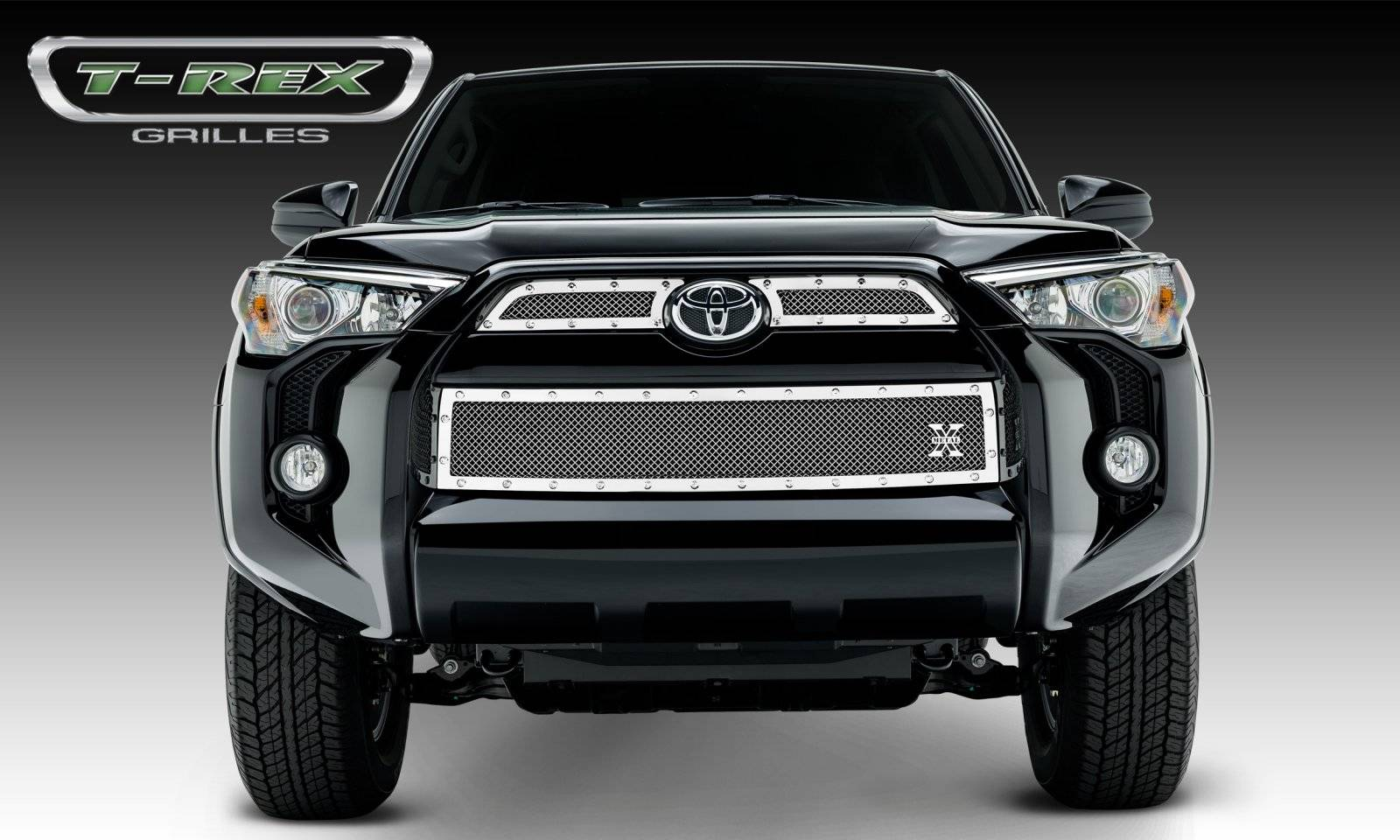 T-REX Grilles - 2014-2019 Toyota 4Runner X-Metal Grille, Polished, 3 Pc, Overlay, Chrome Studs - PN #6719490