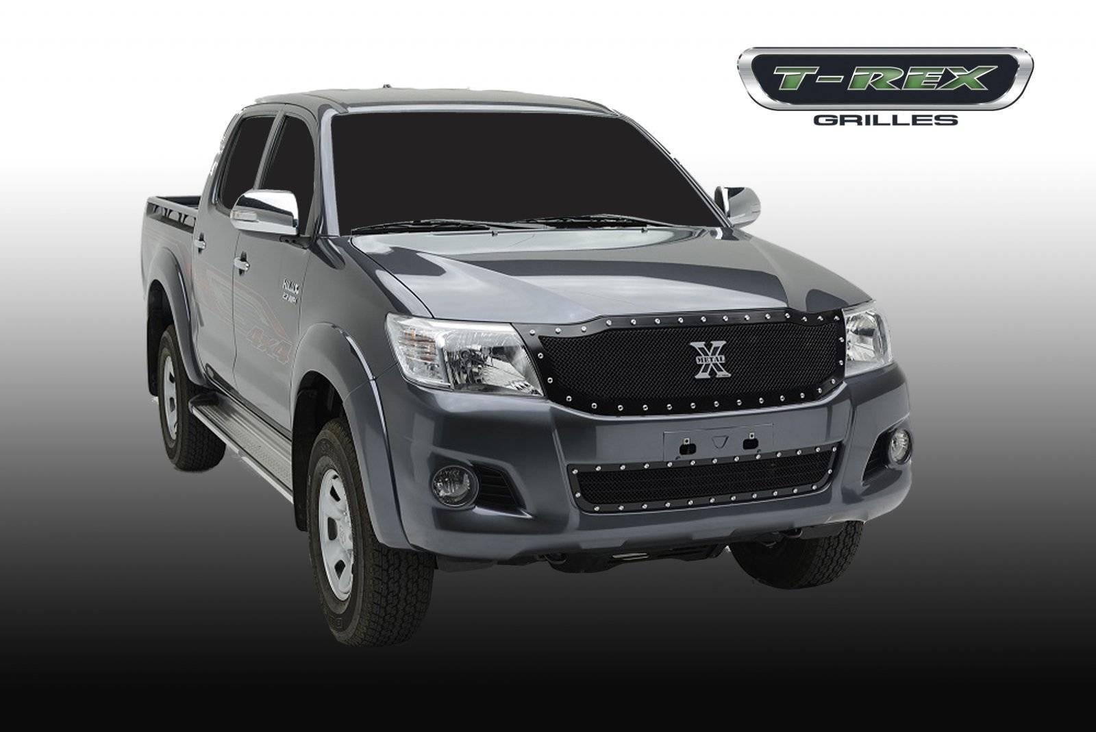 T-REX Grilles - 2012-2015 Toyota Hilux X-Metal Grille, Black, 1 Pc, Insert, Chrome Studs - PN #6719091