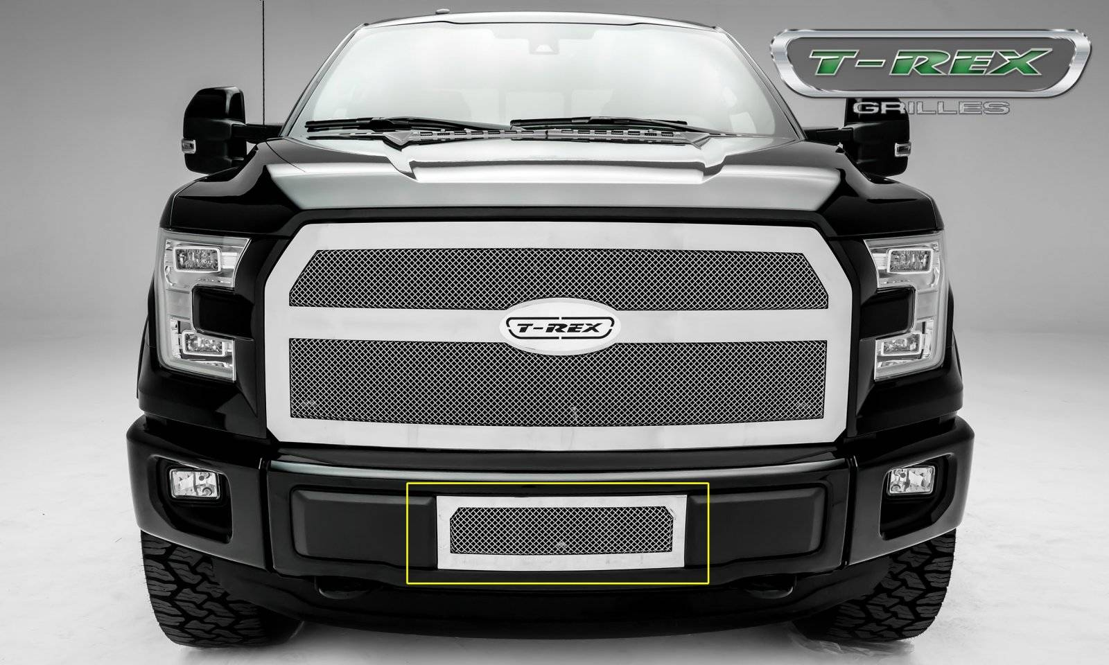 T-REX Grilles - 2015-2017 F-150 Upper Class Bumper Grille, Polished, 1 Pc, Insert, Eco Boost - PN #55573