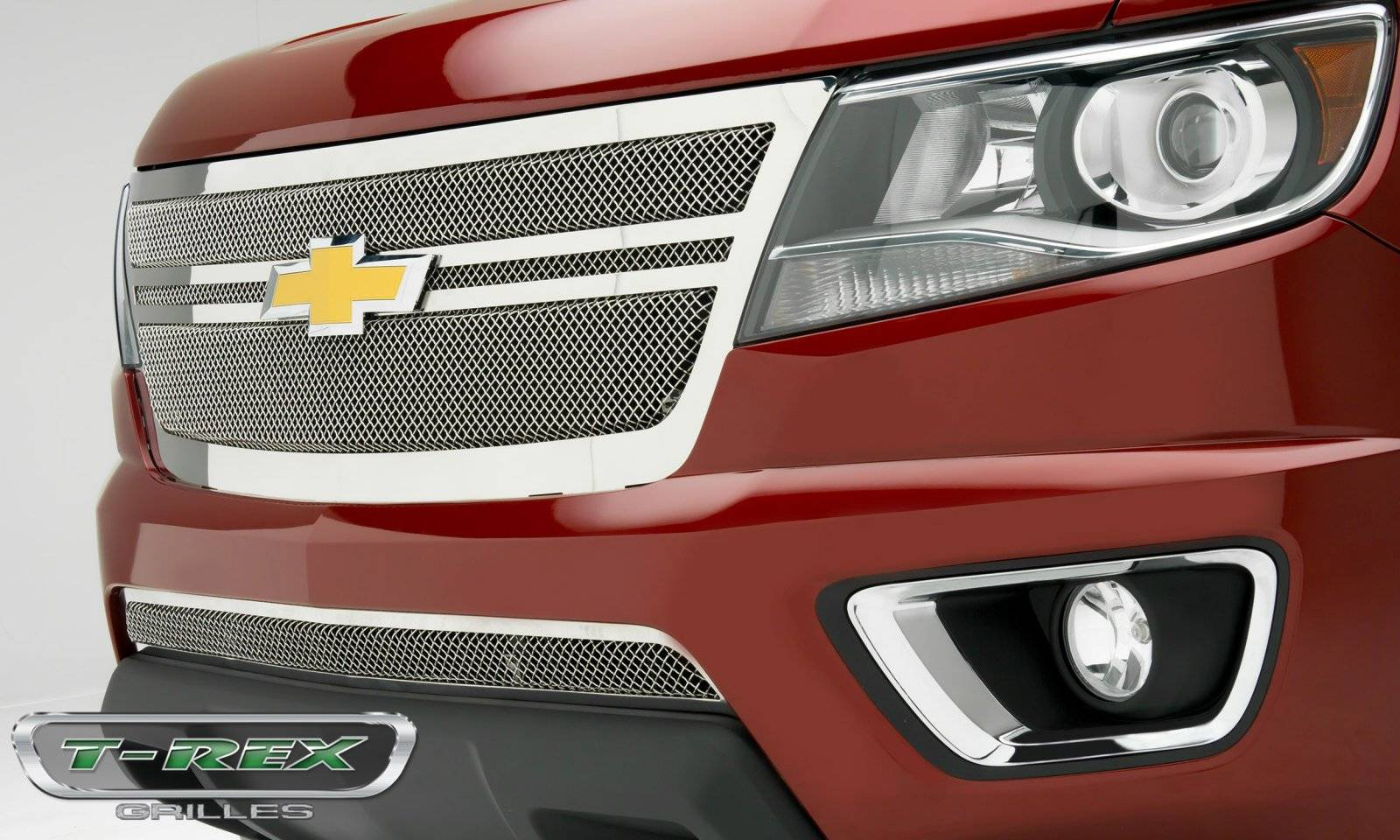 T-REX Grilles - Chevrolet Colorado - Upper Class Series - Center 2 Bar Design - Replacement Main Grille with Polished Stainless Steel Finish - Pt # 54268