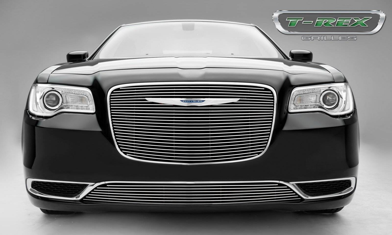 T-REX Grilles - Chrysler 300 - Billet Series - Main Grille Overlay with Black Powder Coat Aluminum Bars and Polished Face - Pt # 21436