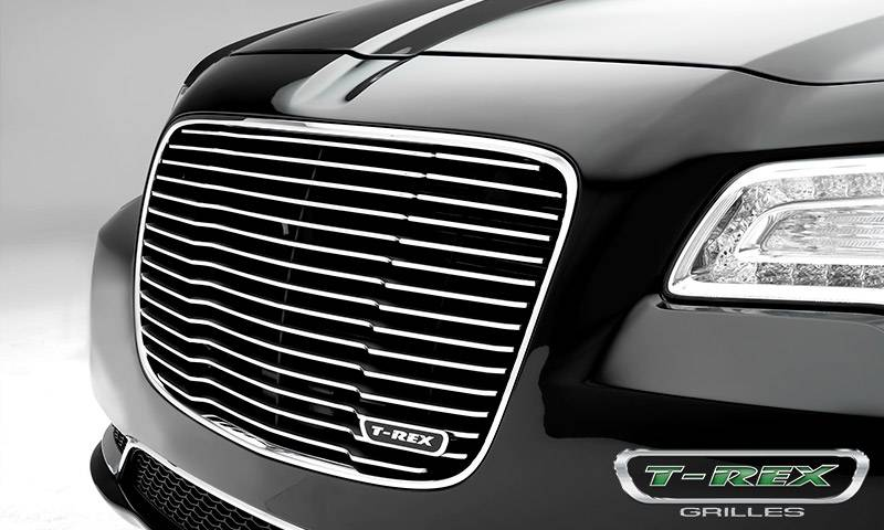 T-REX Chrysler 300 - Billet Series / Laser Cut - Main Grille Replacement with Black Powder Coat Aluminum Bars and Polished Face - Pt # 6214360