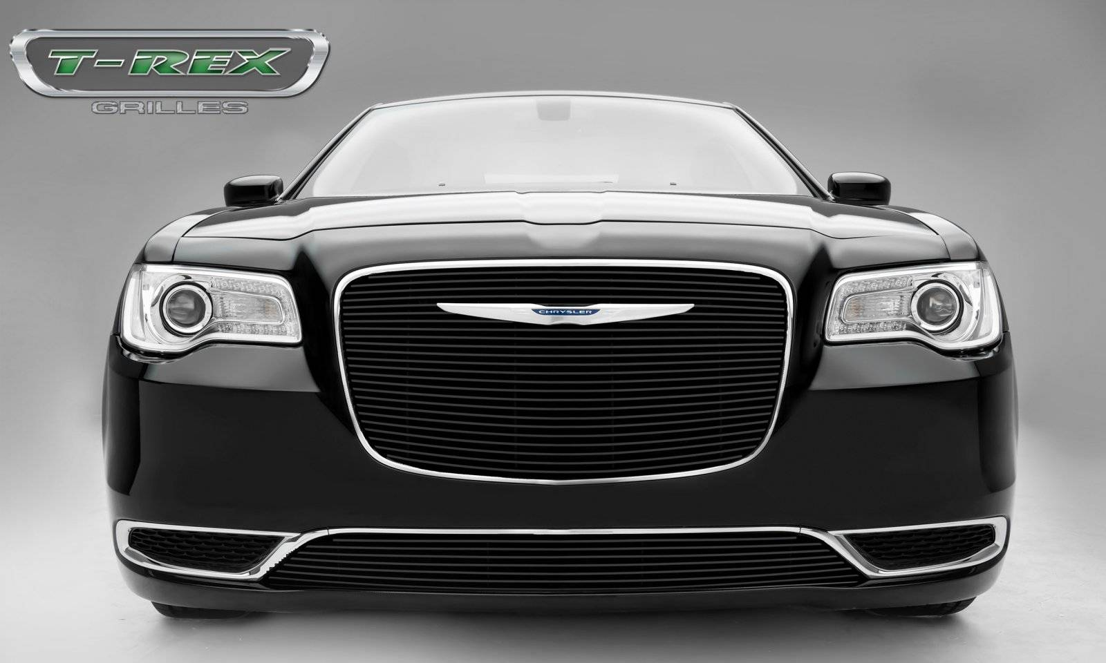 Chrysler 300 - Billet Series - Main Grille Overlay with Black Powder Coat Aluminum Bars - Pt # 21436B