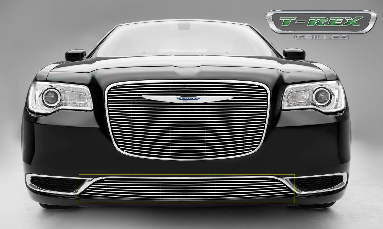 T-REX Chrysler 300 - Billet Series - Bumper Grille Overlay with Black Powder Coat Aluminum Bars and Polished Face - Pt # 25436