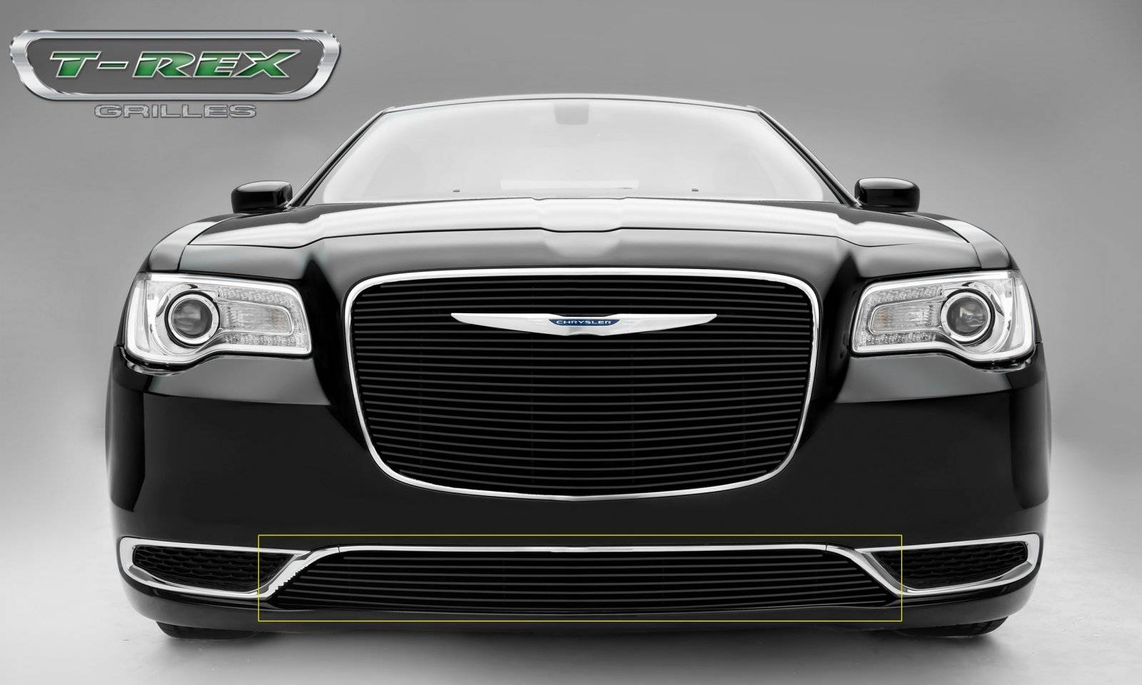 T-REX Grilles - 2015-2018 Chrysler 300 Billet Bumper Grille, Black, 1 Pc, Overlay, Only fits models without adaptive cruise control - PN #25436B