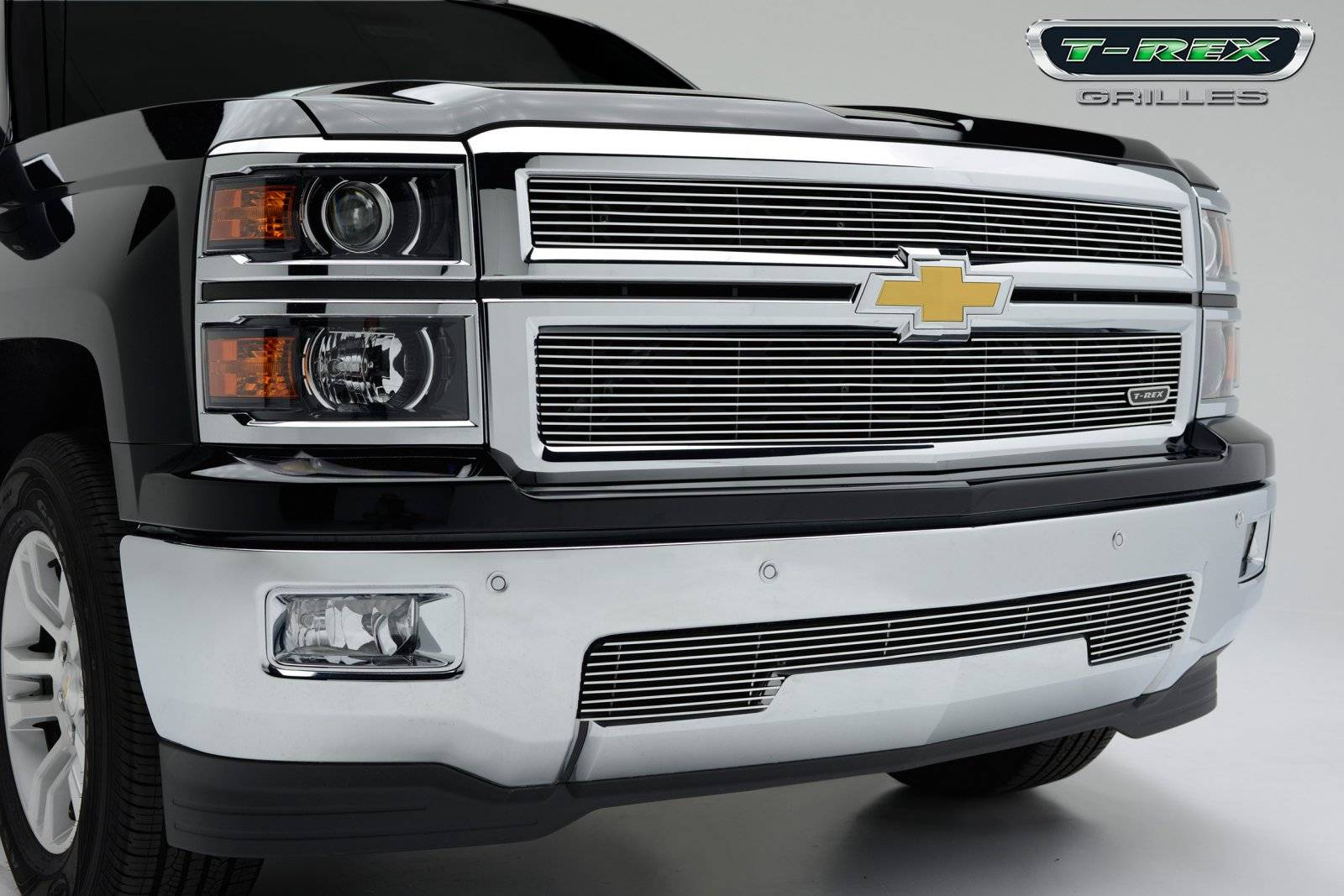 T-REX Grilles - Chevrolet Silverado 1500 - Billet Grille - Main Overlay - Bolt On - 2 Pc. - Polished - Pt # 21117