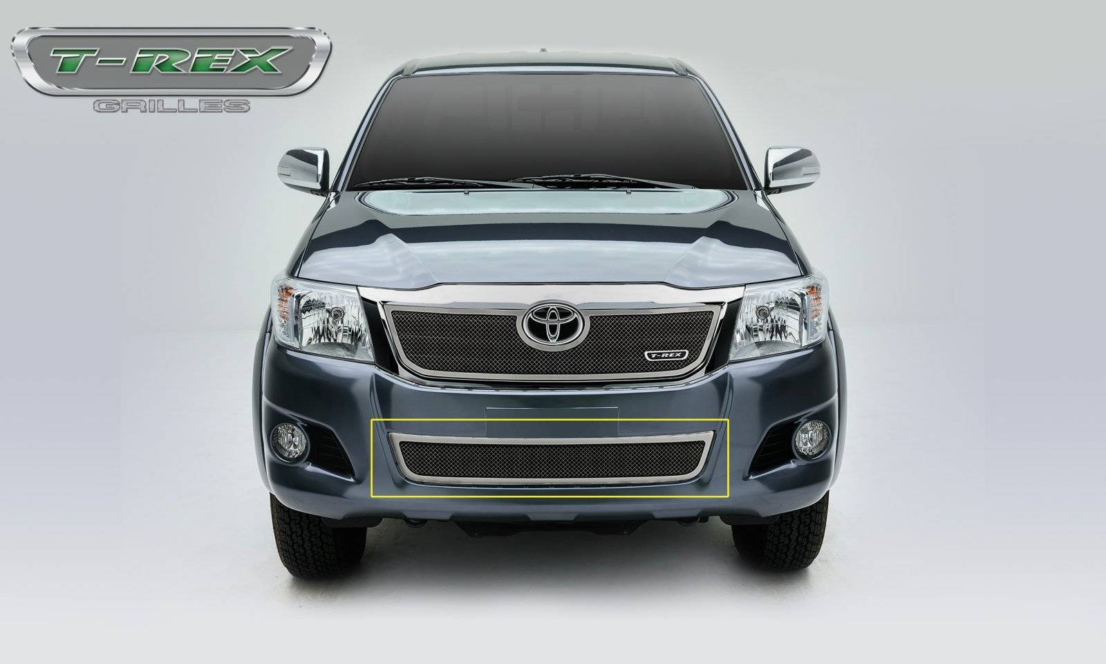 T-REX Grilles - 2012-2015 Toyota Hilux Upper Class Bumper Grille, Polished, 1 Pc, Overlay - PN #55909