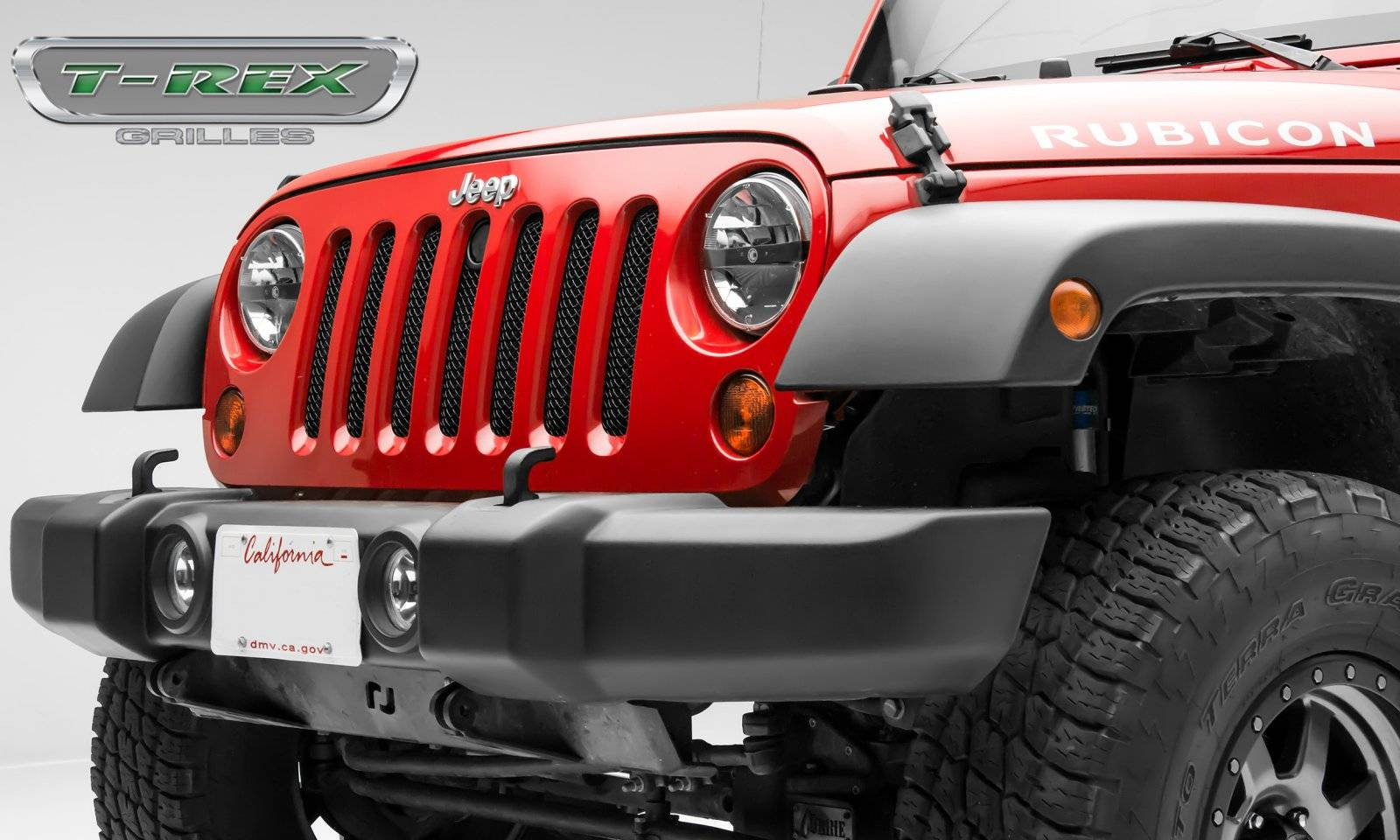 T-REX Grilles - Jeep Wrangler - Sport Series - Formed Mesh Grille - with Accommodating Hood Lock Outlet - Black - Pt # 46482