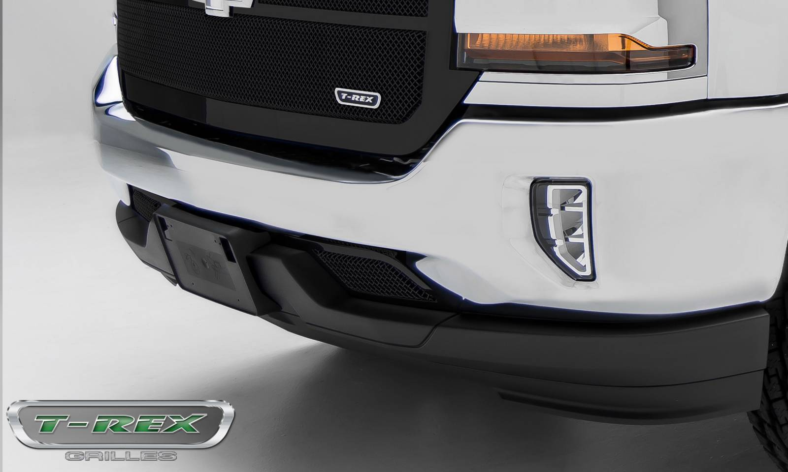 T-REX Grilles - Chevrolet Silverado 1500 Upper Class Mesh Grille, Powder Coated Black, Bumper Grille Overlay - Pt # 52127