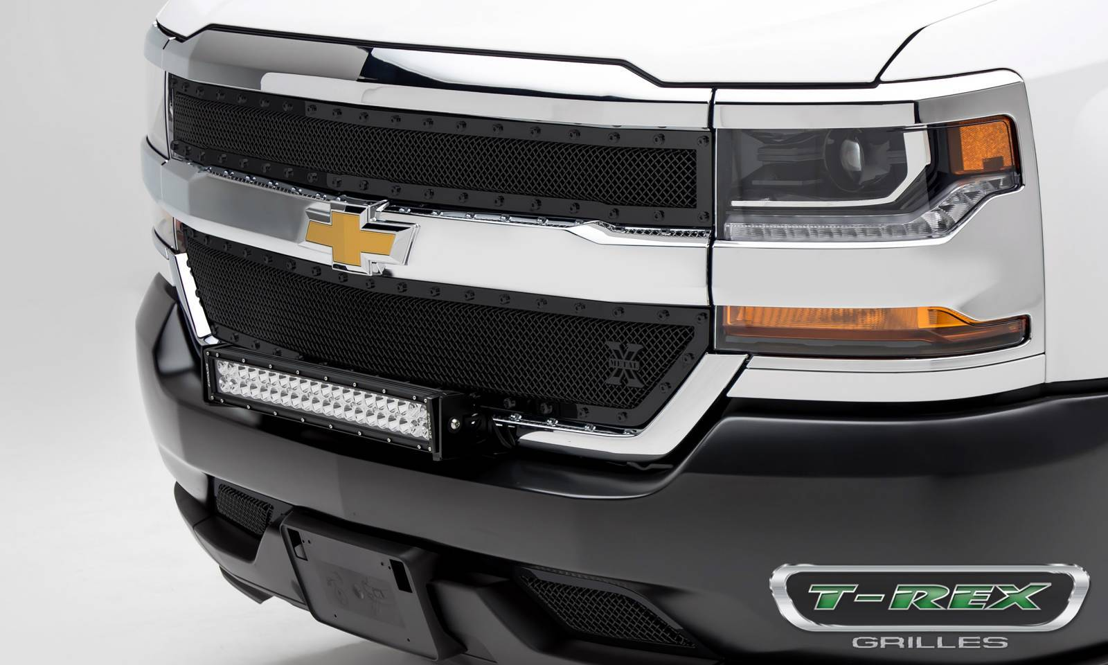 T-REX Grilles - Chevrolet Silverado 1500 X-METAL Series, STEALTH METAL - Blacked Out All Black, 2 Pc Main Grille Overlay - Pt # 6711281-BR