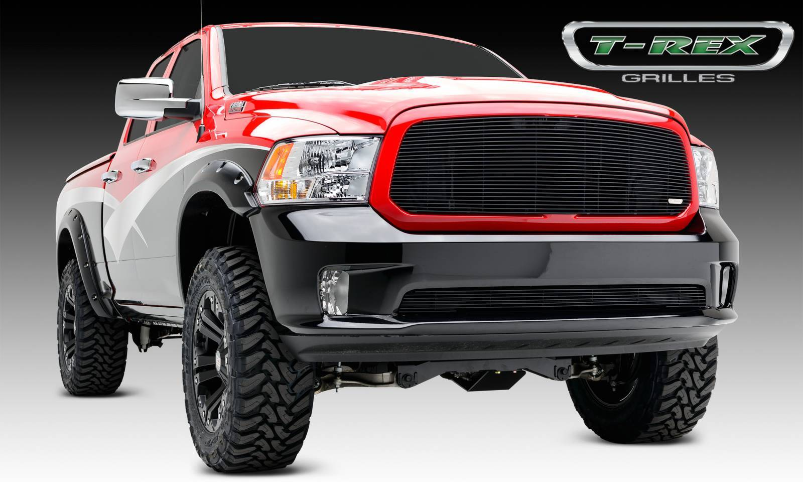 T-REX Grilles - Dodge Ram 1500 & Sport, Billet Grille, Main, Insert , 1 Pc, Black Powder Coated Aluminum Bars, Fits all models. - Pt # 20458B