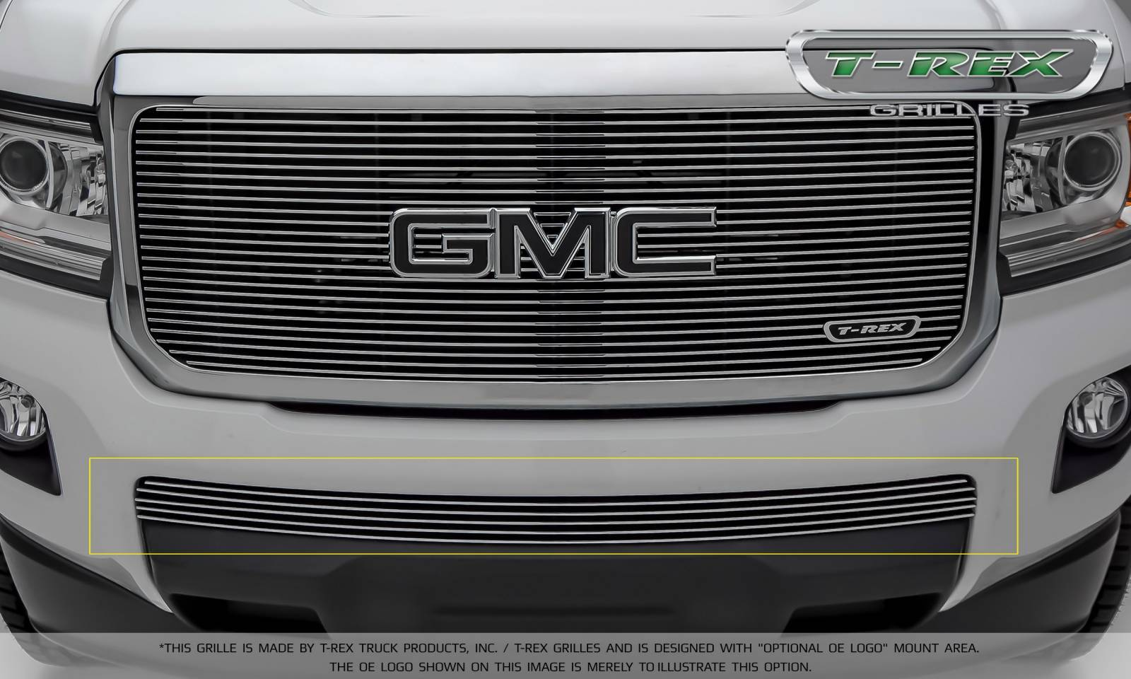 T-REX Grilles - 2015-2019 GMC Canyon Billet Bumper Grille, Polished, 1 Pc, Insert - PN #25371