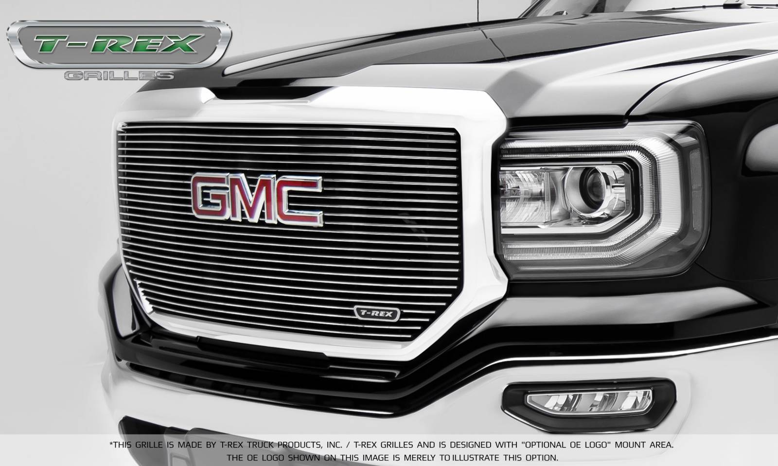 T-REX Grilles - 2016-2018 Sierra 1500 Laser Billet Grille, Polished, 1 Pc, Insert, with Logo Cutout - PN #6202130
