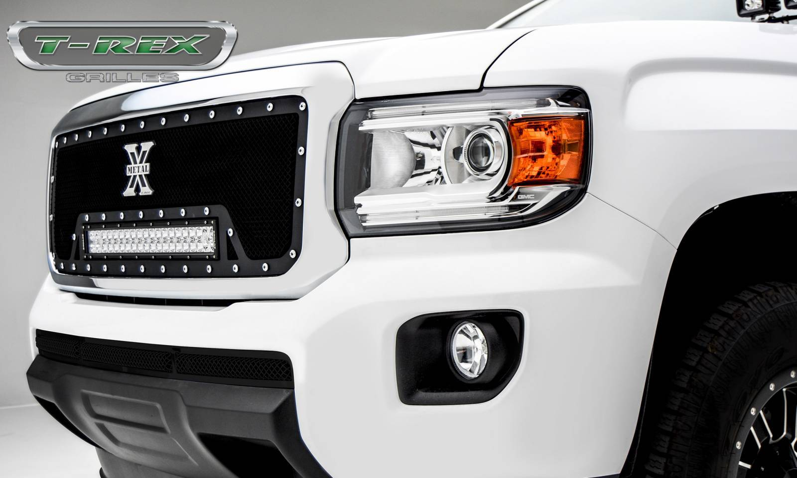 "T-REX Grilles - 2015-2019 GMC Canyon Torch Grille, Black, 1 Pc, Insert, Chrome Studs, Incl. (1) 20"" LED - PN #6313711"