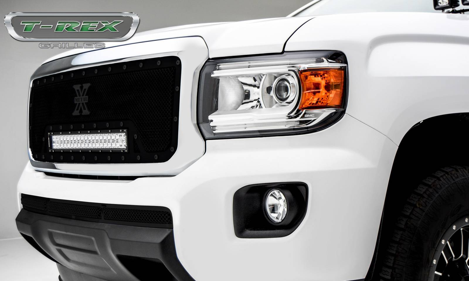 """T-REX Grilles - 2015-2019 GMC Canyon Stealth Torch Grille, Black, 1 Pc, Insert, Black Studs, Incl. (1) 20"""" LED - PN #6313711-BR"""