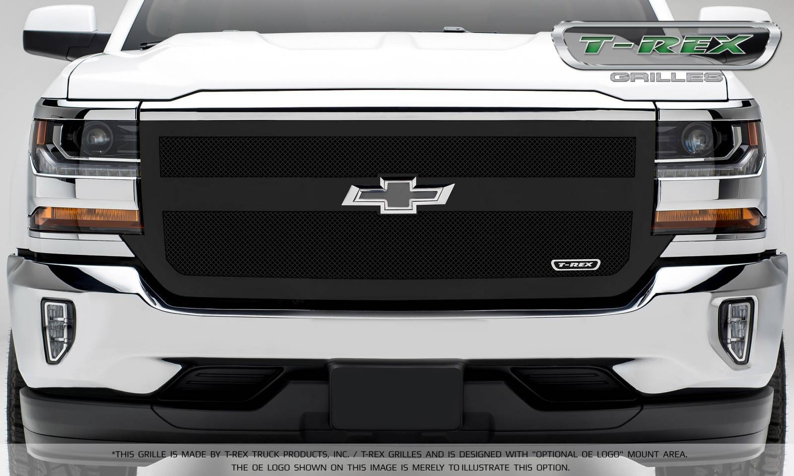 T-REX Chevrolet Silverado 1500 Upper Class Mesh Grille, Black Powder Coated, 1 Bar Design, Main Grille Replacement - Pt # 51131