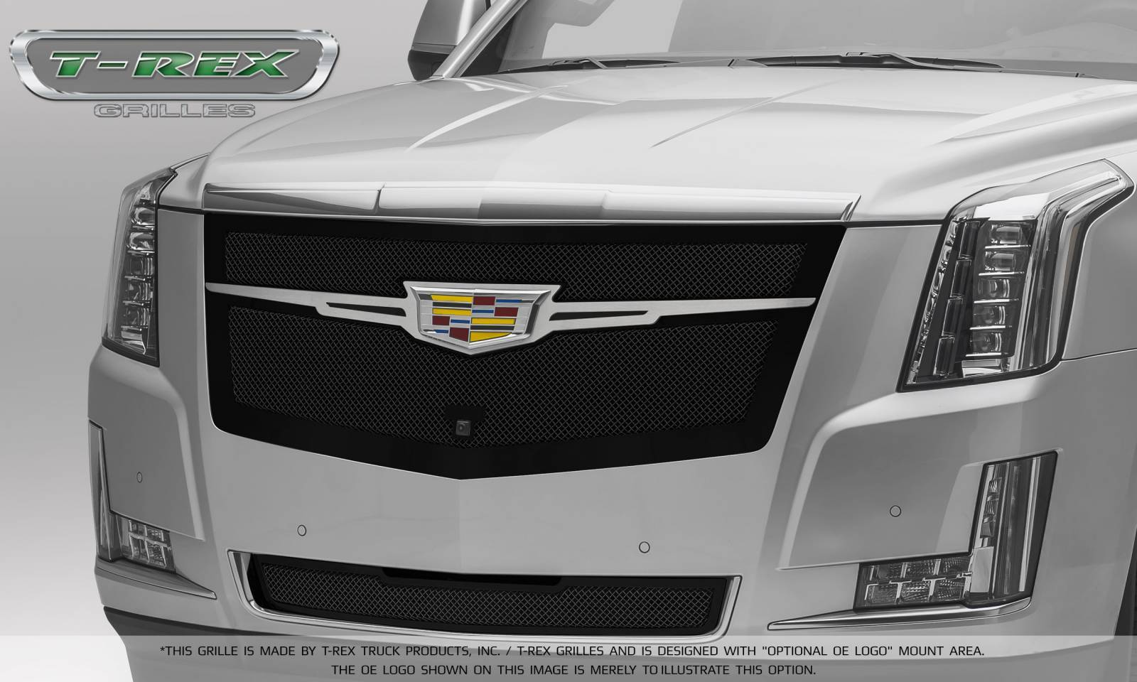 T-REX Cadillac Escalade Upper Class Main Grille Replacement - Black w/ Brushed Center Trim Piece - Pt # 51189