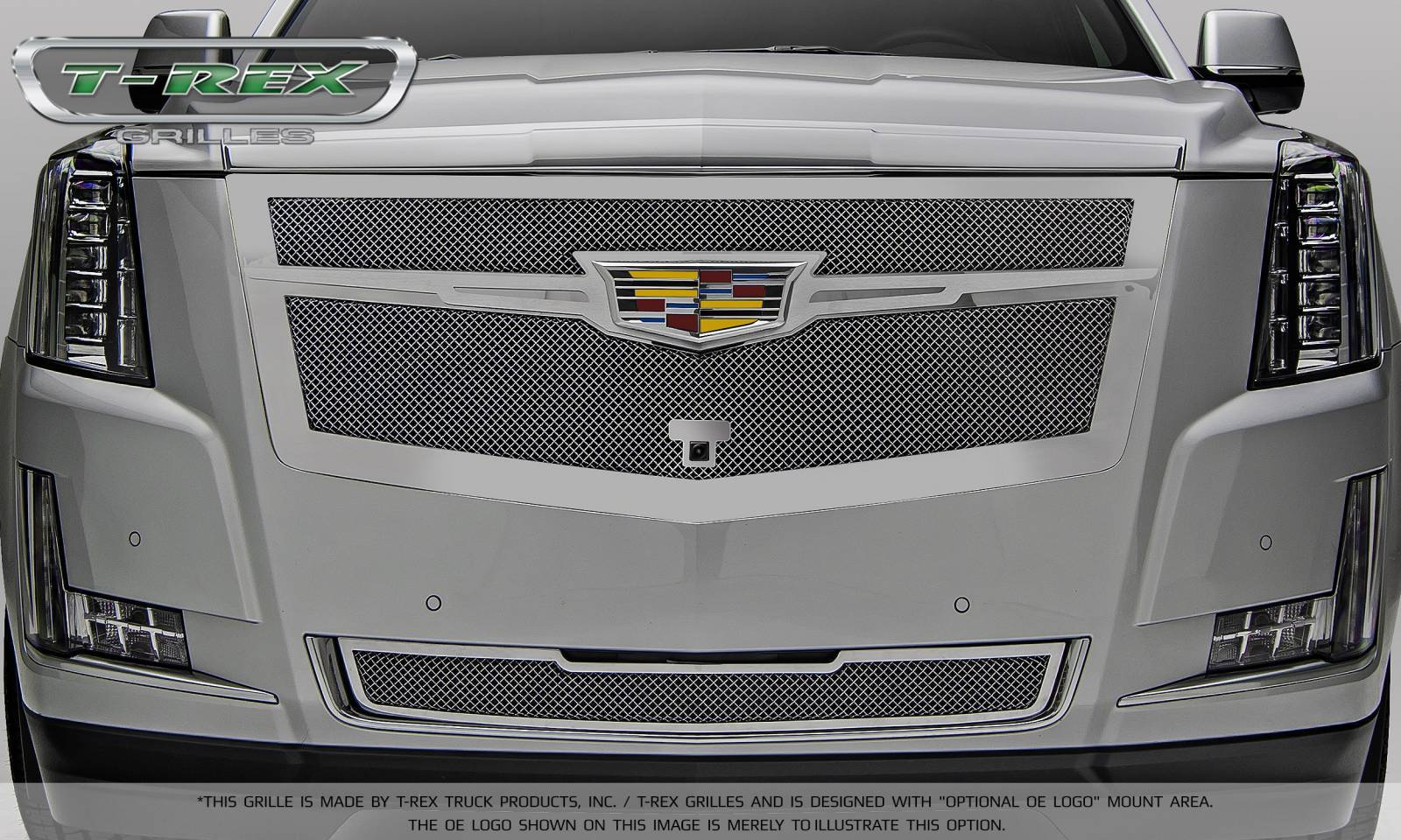 T rex cadillac escalade upper class main grille replacement chrome plated w chrome center trim piece pt 56191