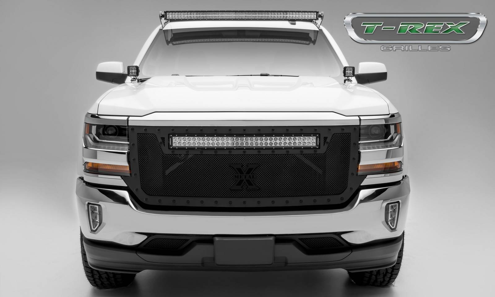 "T-REX Grilles - Chevrolet Silverado STEALTH Torch Series (1) 30"" LED Light Bar (Top), Formed Mesh - Main Grille Replacement, Powder Coated Black - Pt # 6311281-BR"