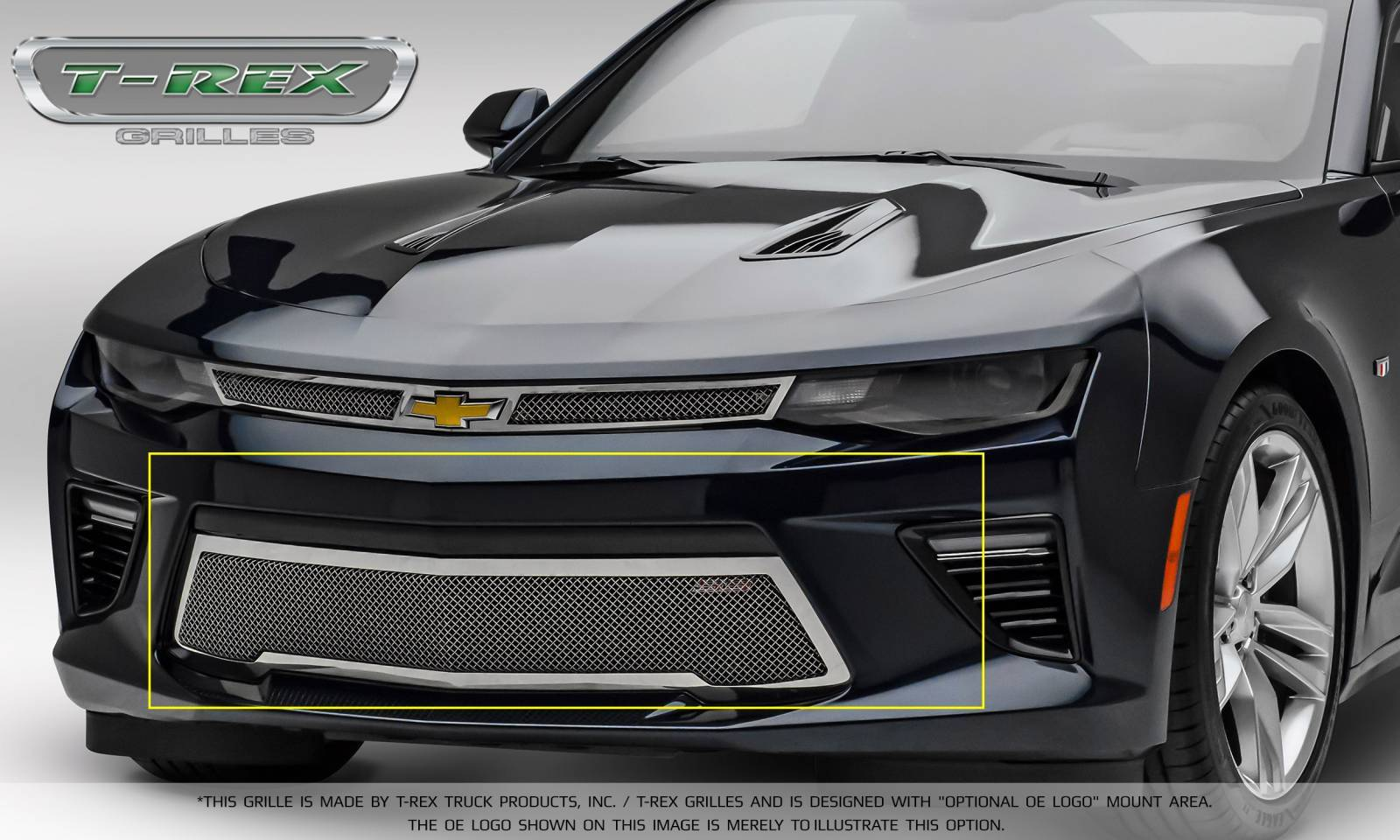 T-REX Grilles - Chevrolet Camaro SS - Upper Class - Bumper Grille Overlay with Polished Stainless Steel - Pt # 55036