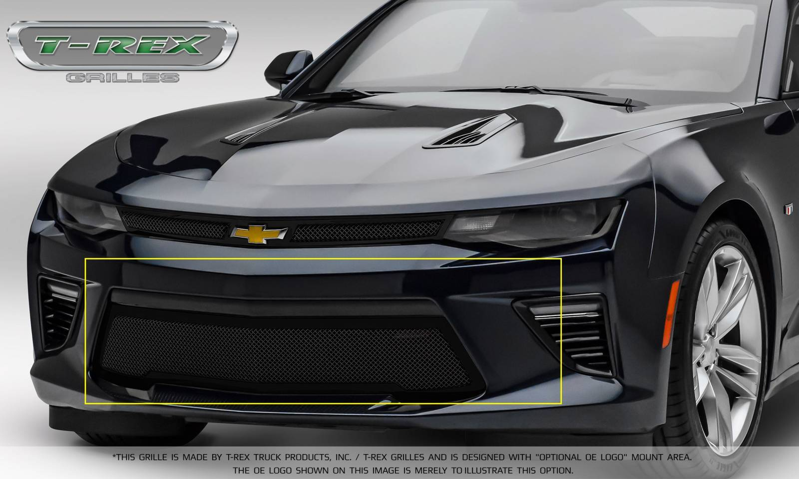 T-REX Grilles - Chevrolet Camaro SS - Upper Class -Bumper Grille Overlay with Black Powder coat Finish - Pt # 52036