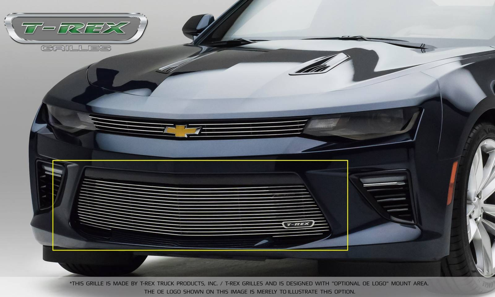 T-REX Chevrolet Camaro V8 -  Billet Series - Bumper Grille Overlay with Polished Steel Finish - Pt # 25036
