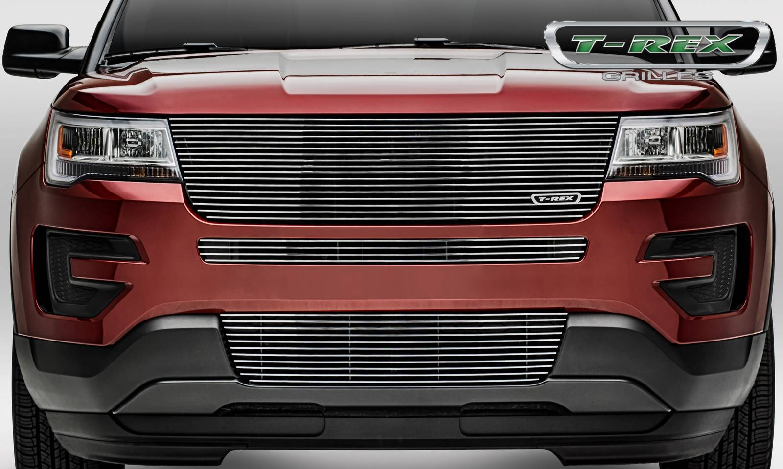 T-REX Grilles - 2016-2017 Explorer Laser Billet Grille, Polished, 1 Pc, Replacement,  without Logo Recess - PN #6216650