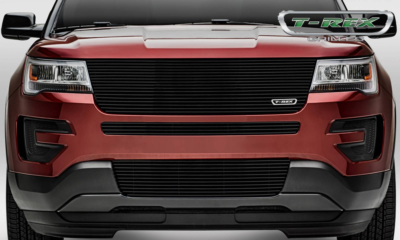 T-REX Ford Explorer - Laser Billet Series - Replacement - Main Grille w/o Logo Recess - Black Powder Coated - Pt # 6216651